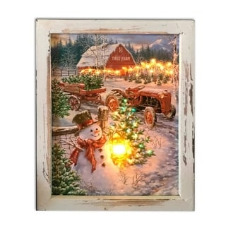 """10"""" White and Brown LED Lighted Christmas Tree Farm Rectangular Shadow Box Decoration"""