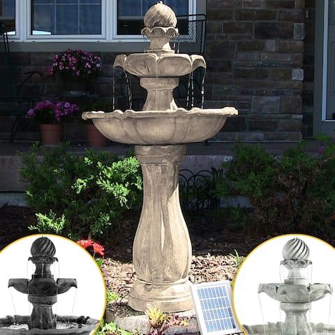 Sunnydaze 2 Tier Arcade Solar on Demand Water Fountain w/ Light - Choose Color