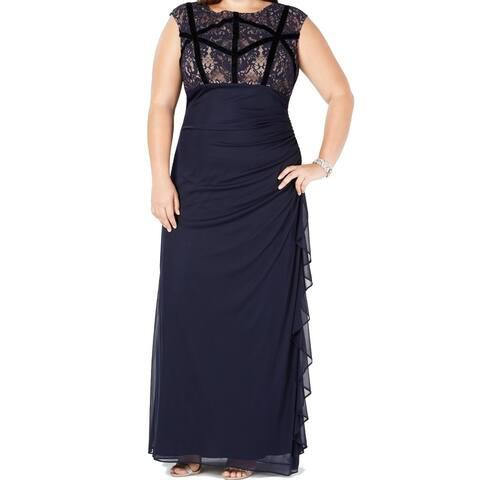 Betsy & Adam Women's Dress Blue Size 18W Plus Gown Lace Velvet-Trim