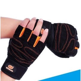 Weight Lifting Gym Gloves Training Fitness Antislip Wareproof Wrist Wrap Workout Exercise Gaming 3 Color In Pair Orange L