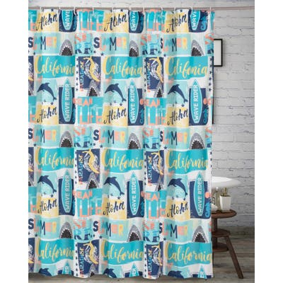 Greenland Home Fashions Wave Rider Shower Curtain - 72 x 72 inches