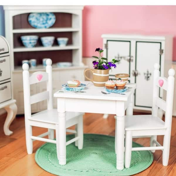 Shop White Wooden Kitchen Dining Table & 2 Chairs, Furniture ...