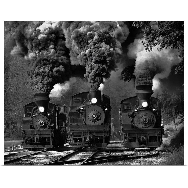 """Train Race In Bw"" Poster Print"