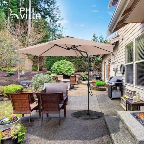 "PHI VILLA 10ft Push Open Hanging Umbrella Patio Offset Outdoor Cantilever Umbrella with 6 Steel Ribs, 1.65"" Pole, Beige"