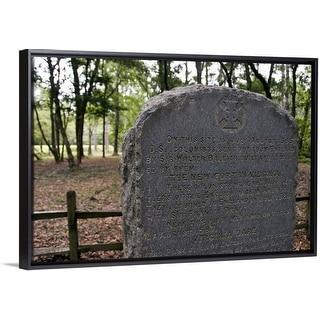 """Stone marker, site of ""Lost Colony"" Roanoke Island"" Black Float Frame Canvas Art"