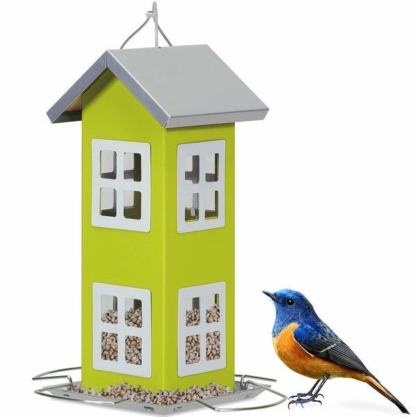 Gymax Outdoor Wild Bird Feeder Weatherproof House Design Garden Yard Decoration Green