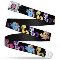 My Little Pony Logo Full Color Black Pink Six Ponies Group Black Webbing Seatbelt Belt