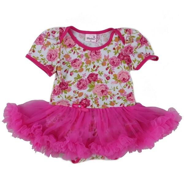 Wenchoice Baby Girls White Hot Pink Rose Tutu Cotton Bodysuit