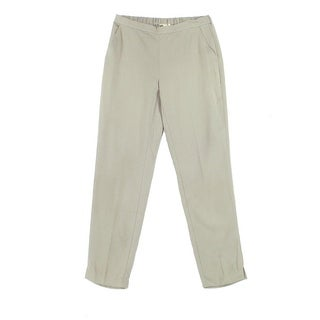 Eileen Fisher Beige Womens XXS Pull-On Woven Tapered Ankle Pants