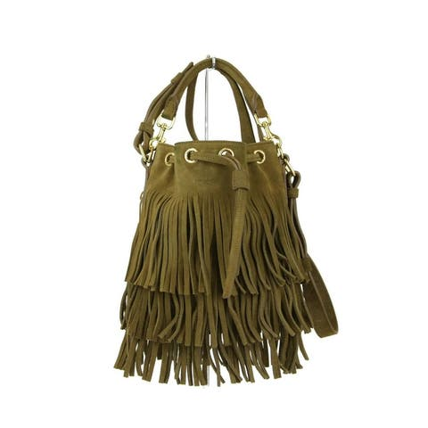 Saint Laurent Women's Brown Suede Emmanuelle Fringe Bucket Bag 357603 7735