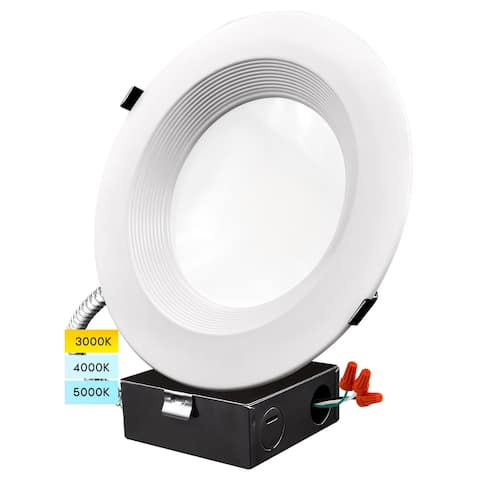 Luxrite 8 Inch LED Recessed Light with J-Box 3 Color Selectable 3000K/4000K/5000K Dimmable Wet Rated IC Rated