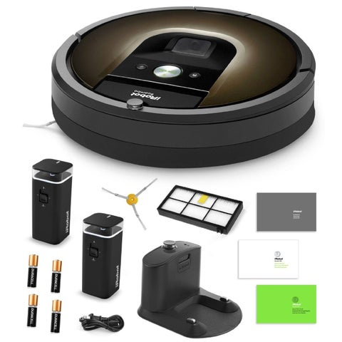 iRobot Roomba 980 Vacuum Cleaning Robot + 2 Dual Mode Virtual Walls + Extra Side Brush + Extra High Efficiency Filter