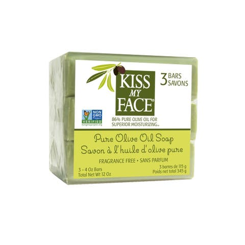Kiss My Face Pure Olive Oil Moisturizing Bar Soap 3 Bars 4 oz each - 4 oz