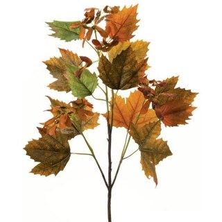 """Pack of 6 Decorative Artificial Green and Brown Norway Maple Spray 33"""""""