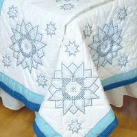 """Stamped White Quilt Blocks 18""""X18"""" 6/Pkg-XX Stars"""
