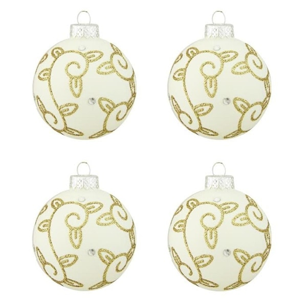 "4ct Matte White with Gold Swirled Leaf Design Glass Ball Christmas Ornaments 2.5"" (65mm)"