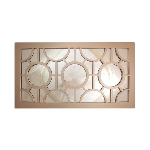 "25.5"" Oyster Gray Geometrical Circles Decorative Rectangular Wall Mirror"