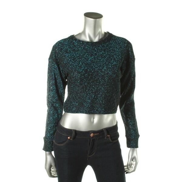 Zara W&B Collection Womens Crop Sweater Metallic Long Sleeves