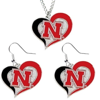 Nebraska NCAA Swirl Heart Pendant Necklace And Earring Set