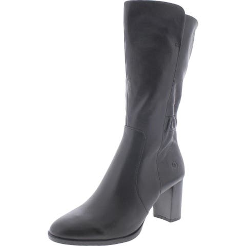 Born Womens Ellen Mid-Calf Boots Leather Almond Toe - Black - 7.5 Medium (B,M)