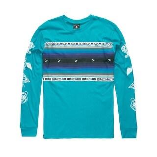 LRG Blue Mens Size 3XL Fair Isle Graphic Crewneck Tee T-Shirt
