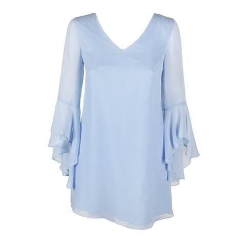 Kensie Light Blue Angel-Sleeve Lattice-Back Chiffon Shift Dress 2