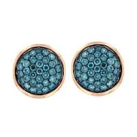 Prism Jewel 1.27Ct Round Cut Blue Diamond & Diamond Stud Earring