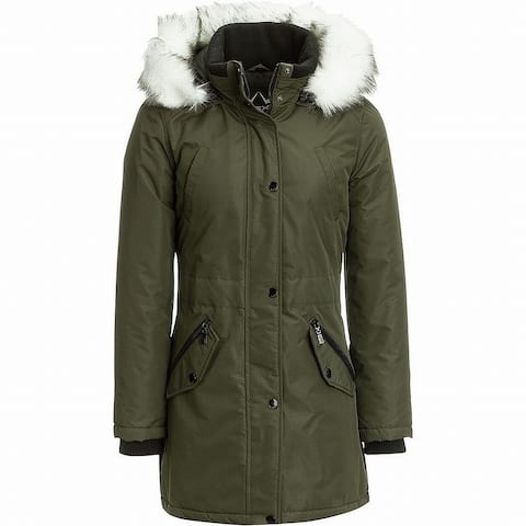 HFX Women's Coat Green Size Large L Faux-Fur Hooded Insulated Parka