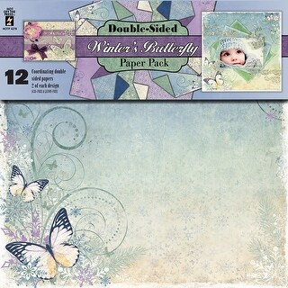 """Hot Off The Press Double-Sided Paper Pack 12""""X12"""" 12/Pkg-Winter's Butterfly"""