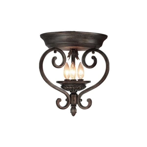"Woodbridge Lighting 36000 Harrington 3-Light 13-1/2"" Wide Flush Mount Ceiling Fixture - aged bark"