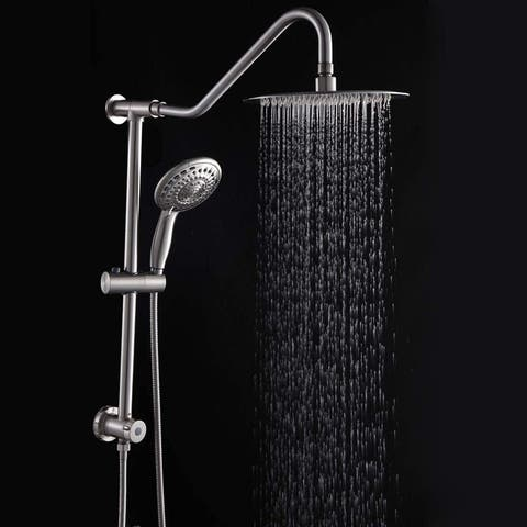 5 -Spray Patterns 10 in. Wall Mount Dual Shower Heads Plastic Drill-Free Adjustable Slide Bar and Hose in Brushed Nickel
