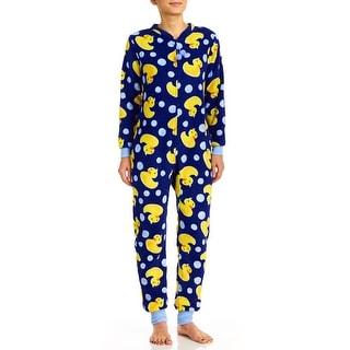 PJ Couture Women's All In One Ducks Plush Fun Onesie Pajamas