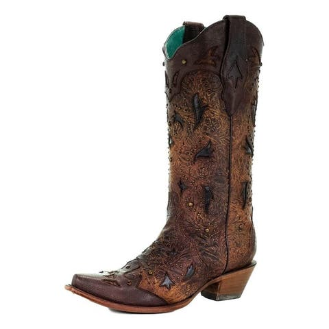"""Corral Western Boots Womens 13"""" Shaft Snip Toe Studded Leather"""