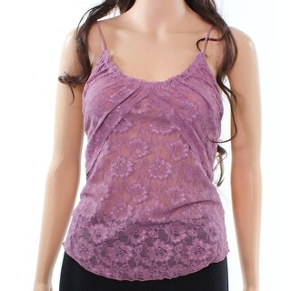 Free People NEW Purple Womens Size Small S Floral Lace V-Neck Tank Top