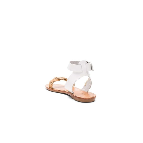 Soludos Womens FBAS1600-100 Leather Open Toe Casual Ankle Strap, White, Size 8.0 - 8