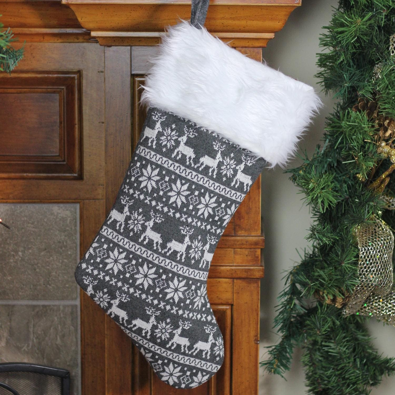 Gray Christmas Stockings.15 5 Gray And White Reindeer And Snowflake Knit Christmas Stocking With Faux Fur Cuff