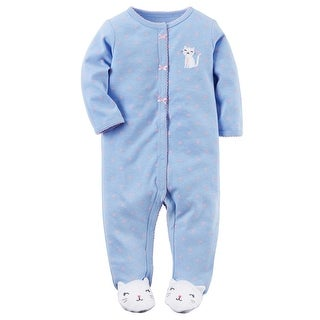 Carter's Baby Girls' Cotton Snap-Up Sleep & Play, 3 Months - Blue