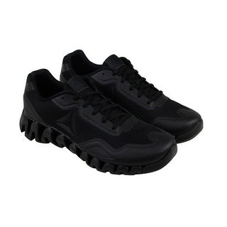 Reebok Zig Pulse Mens Black Mesh Athletic Lace Up Running Shoes