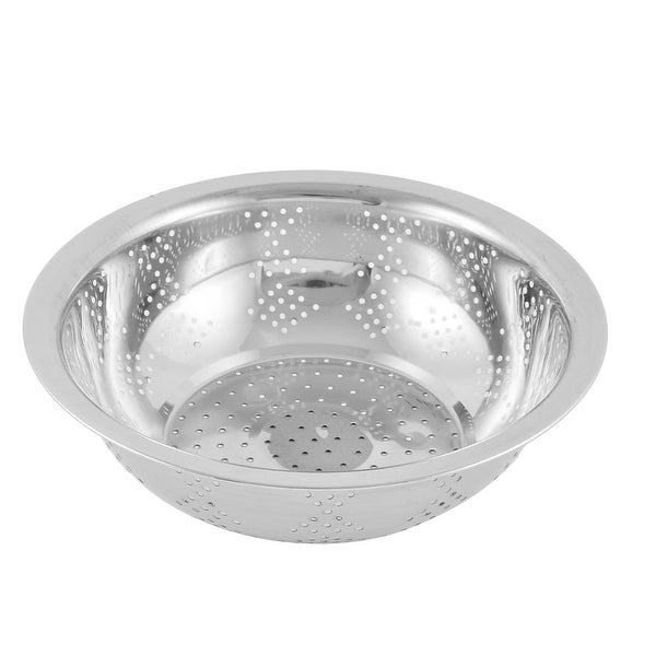 Stainless Steel Vegetable Fruit Washing Bowl Colander Silver Tone 24cm Diameter