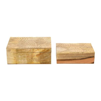 Hand Carved Mango Wood Boxes, Set of 2
