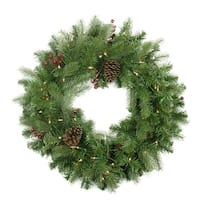 "24"" Pre-lit Noble Fir with Red Berries and Pine Cones Artificial Christmas Wreath - Clear Lights"