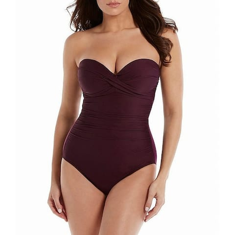 Miraclesuit Womens Swimwear Plum Purple Size 12 Strapless One-Piece