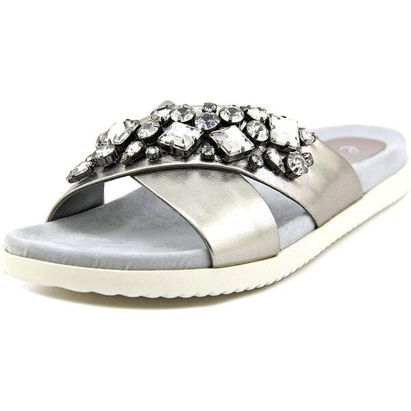 Easy Spirit Marvina Women Open Toe Leather Silver Slides Sandal
