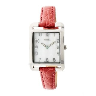 Bertha Marisol Women's Quartz Watch, Mother of Pearl Dial, Genuine Leather Band, Luminous Hands