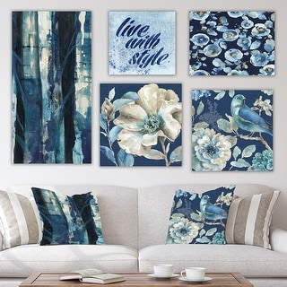Designart 'Blue Forest Collection' Traditional Wall Art set of 5 pieces - Grey