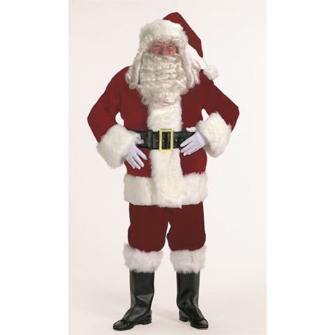 7-piece Burgundy Velvet Santa Suit Christmas Costume - Adult Size XXXL - x-large