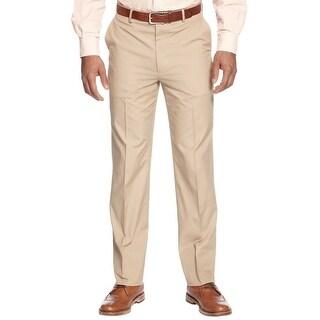 Club Room Slim Fit Cotton Flat Front Dress Pants Khaki 32W x 32L - 32