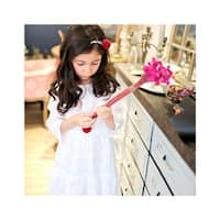 Girls White Embroidered Cotton Bell Sleeve Scoop Neck Dress