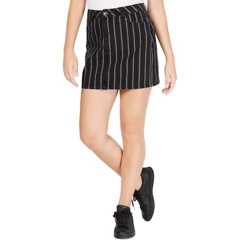 Vanilla Star Womens Juniors Denim Skirt Striped Denim - Black/White Stripe