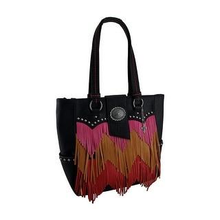 Pink Orange and Red Chevron Fringe Studded Black Shoulder Bag